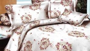 Lenjerie pat 2 persoane BUMBAC FINET - 4 piese - Alb, model oriental cu accente rosii si crem
