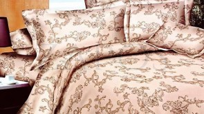 Lenjerie pat 2 persoane BUMBAC FINET - 4 piese - Crem, model abstract cu motive orientale