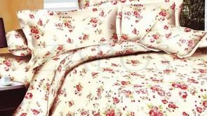 Lenjerie pat 2 persoane BUMBAC FINET - 4 piese - Alb, model floral cu accente roz si verde