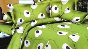 Lenjerie pat 2 persoane BUMBAC FINET - 4 piese - Verde, model linii si flori albe grafice