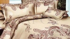 Lenjerie pat 2 persoane BUMBAC FINET - 4 piese - Crem, model oriental complex in nuante diferite