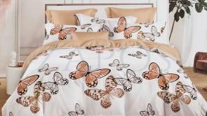 Lenjerie pat 2 persoane BUMBAC FINET - 6 piese - Alb, model fluturi si culoare bej