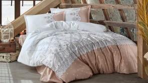 Lenjerie pat 2 persoane BUMBAC RANFORCE - 4 piese - Alb, model minimalist si margini roz pudrat cu buline