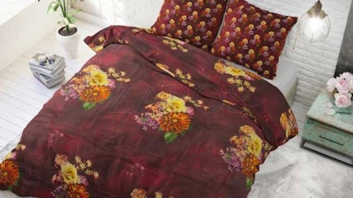 Lenjerie pat 2 persoane BUMBAC - 3 piese - Visiniu, model buchet de flori in culori de toamna-200 x 220