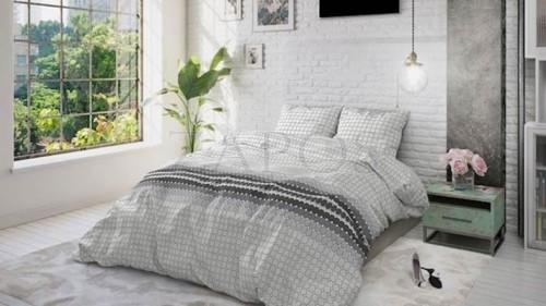 Lenjerie pat 2 persoane BUMBAC - 3 piese - Gri, model grafic cu patrate mici in degrade-240 x 220