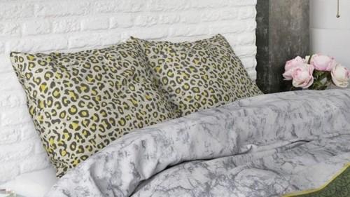 Lenjerie pat 2 persoane BUMBAC - 3 piese - Animal print, model cu dungi imprimate-240 x 220