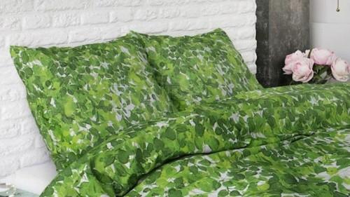 Lenjerie pat 2 persoane BUMBAC - 3 piese - Verde, model frunze pe fundal alb-240 x 220