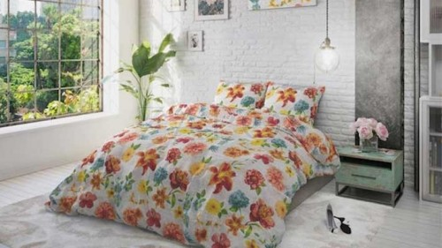 Lenjerie pat 2 persoane BUMBAC - 3 piese - Alb, imprimeu floral colorat-200 x 220
