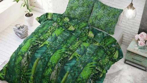 Lenjerie pat 2 persoane BUMBAC - 3 piese - Verde inchis, model elemente din jungla-200 x 220