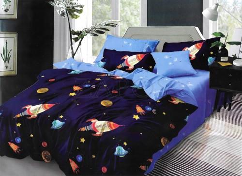 Lenjerie pat cu 2 fete BUMBAC FINET - 6 piese - Bleumarin, model planete si rachete