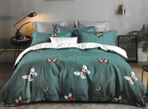 Lenjerie pat 6 piese BUMBAC FINET cu 2 fete - Verde inchis, model fluturi colorat
