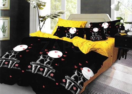 Lenjerie pat 6 piese BUMBAC FINET 2 fete - Negru, model pisici in clar de luna