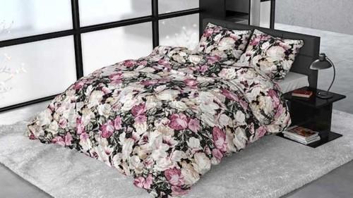 Lenjerie pat 2 persoane BUMBAC SATINAT - 3 piese - Roz, imprimeu bujori si frunze-200 x 220