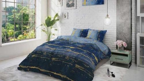 Lenjerie pat 2 persoane BUMBAC - 3 piese - Albastru, imprimeu abstract cu accente galbene-200 x 220